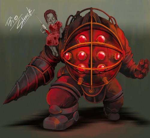 バイオショック(Bioshock)「ビッグダディとリトルシスター」イラスト
