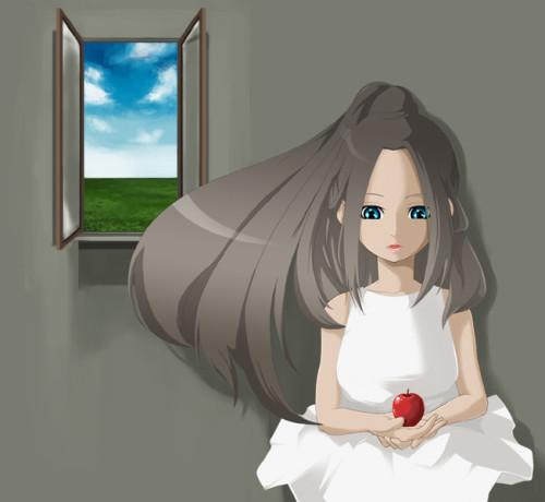 「空と草原と少女」オリジナルイラスト